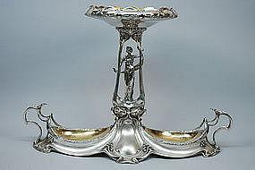 German Antique Silver Art Nouveau Centerpiece C.1905