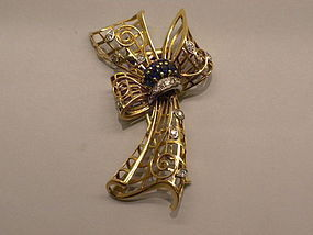 Retro 14k And White Gold Diamond Sapphire Bow Brooch