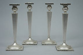 Set of 4 Modern American Sterling Silver Candlesticks C 1915