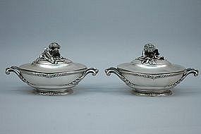 Pair of French 950 Silver Covered Vegetable Dishes
