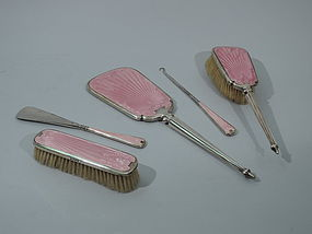 English Sterling And Enamel Art Deco Dresser Set 1928