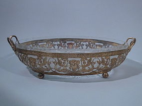 European Gilt-Silver And Etched Glass Centerpiece Bowl