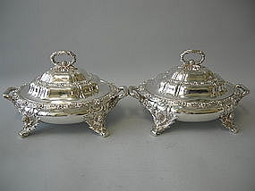 Tiffany Silver Chrysanthemum Covered Dishes Circa 1885