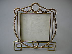Antique Brass Wire Picture Frame, English C. 1910