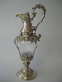 Antique Silver Gilt Crystal Wine Decanter Durgin C1885