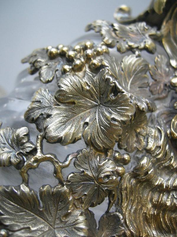 Antique Silver Gilt Crystal Wine Decanter Durgin C1885