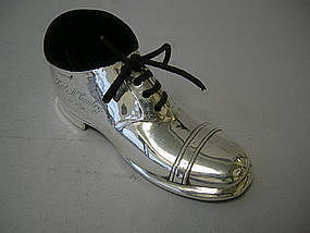 English Sterling Silver Baby Shoe  Chester 1910