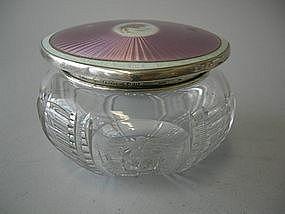 Cut Crystal And Enamel Silver Vanity Jar  C 1923