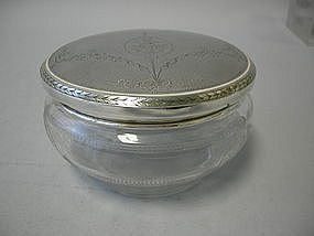 Etched Crystal And Sterling Silver Vanity Jar  C. 1915