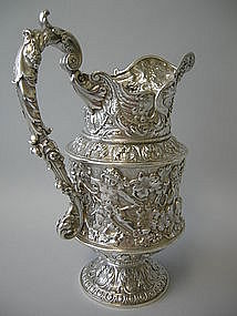 Magnificent Gorham Sterling Pitcher Cherubs 1893