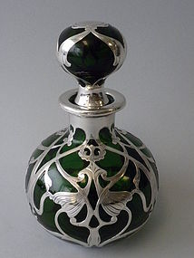 Large Green Glass Silver Overlay Perfume Bottle