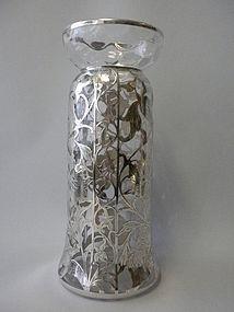 Art Nouveau Sterling Silver Overlay Vase C 1905