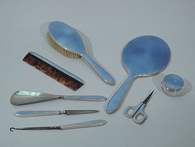 Cartier Art Deco Vanity Set - Sterling Silver & Enamel
