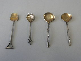 Gorham Sterling Silver Japanesque Salt Spoons C 1895