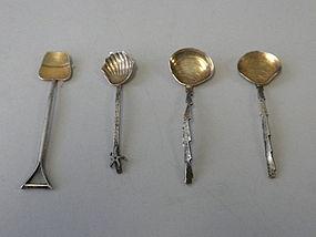 Gorham Sterling Silver Japanesque Salt Spoons C 1895