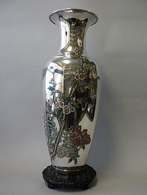 Chinese Silver and Enamel Vase, Zee Wo, Shanghai 1910