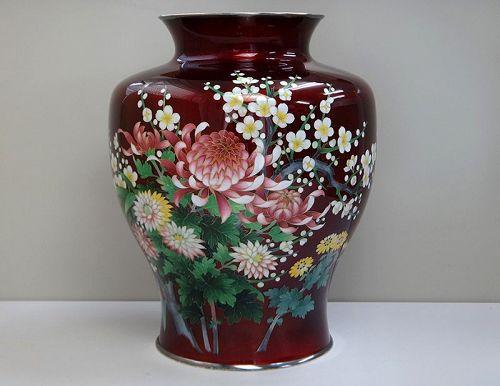 Japanese cloisonne flower vase metalwork antique