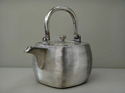 antique Japanese silver teapot pot metalwork