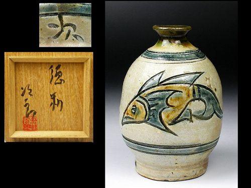 Jiro Kinjo ceramic tokkuri sake bottle pottery ryukyu