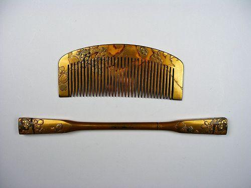 antique Japanese lacquered Kushi comb Kanzashi ornamental hairpin