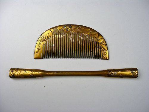 antique Japanese kushi comb ornamental hairpin lacquer makie
