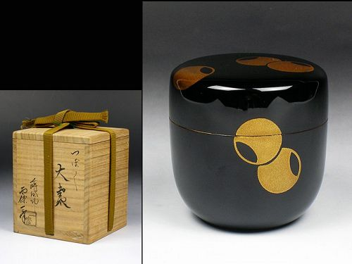 Japanese tea caddy box storage Natsume makie lacquer