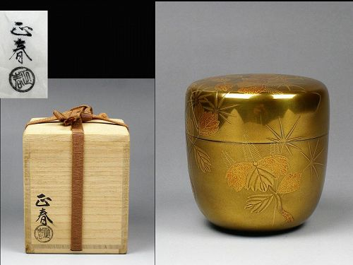 Japanese Natsume Lacquer Makie Tea caddy container box