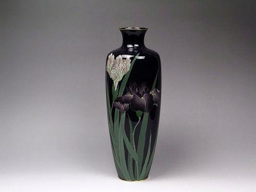 Antique Japanese Cloisonne Flower Vase enameled metalwork