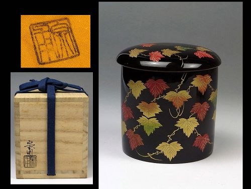 Japanese makie lacquer Natsume tea caddy container box