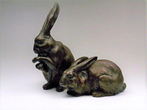 Japanese bronze rabbit figure statue metalwork okimono