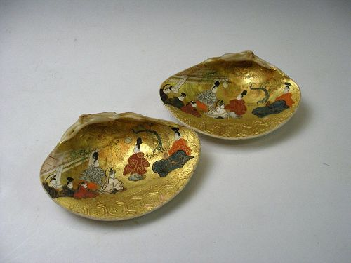 Japanese Kaiawase painting makie gold leaf decoration shellfish