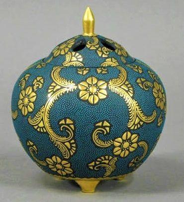 Nakata Kingyoku Kutani Ceramic Koro Incense Burner Japanese
