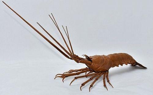 51th Muneyuki Myochin Jizai Okimono Metalwork Lobstar Shrimp