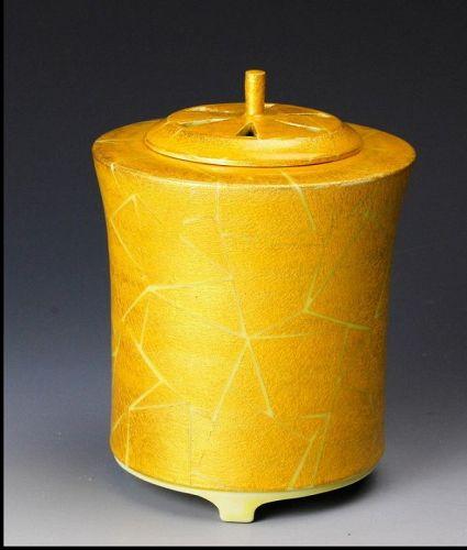 Hakuko Ono yellow ceramic koro incensen burner Japanese pottery