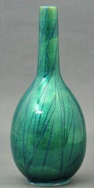Hakuko Ono Ceramic Green Flower vase Yurisai Japanese Pottery