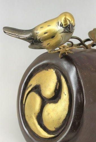 Japanese bronze metal bird okimono statue figure birds