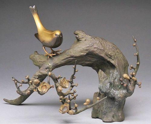 Japanese bronze metal bird okimono ornament figure statue birds