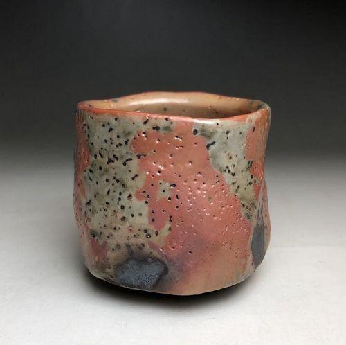 Tomio Suzuki Yohen Gold Shino ceramic sake cup Guinomi Japanese potter