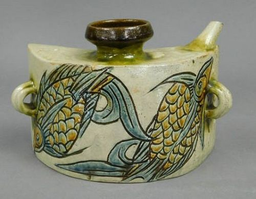 Jiro Kinjo Ryukyu Yaki were Ceramic Sake bottle Japanese Pottery
