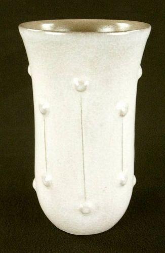 Yaichi Kusube White Ceramic flower vase, Japanese pottery