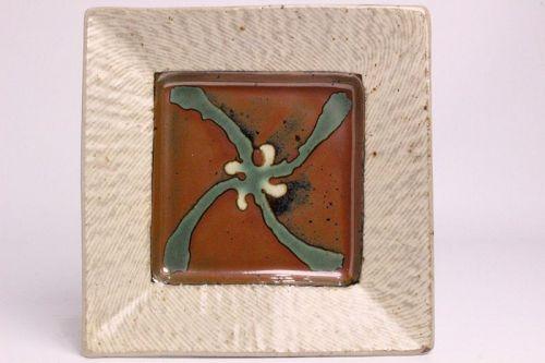 Tatsuzo Shimaoka Ceramic square dish plate plates Japanese pottery