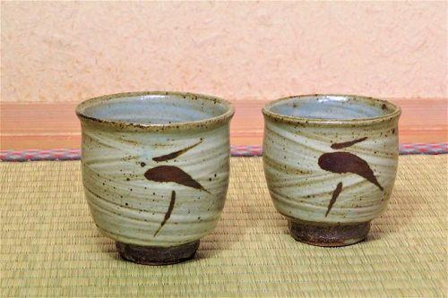 Tatsuzo Shimaoka Pair Ceramic Yuonmi Teacup teacups cups meoto