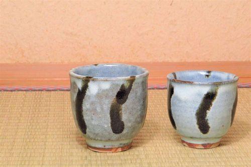 Tatsuzo Shimaoka Ceramic pair yunomi teacups teacup cup cups