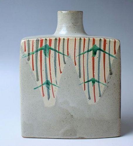 Shinsaku Hamada Ceramic Flower Vase Japanese Pottery Mashiko