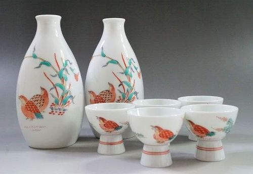 13th Kakiemon Sakaida Sake Ceramic Porcelain bottles cups