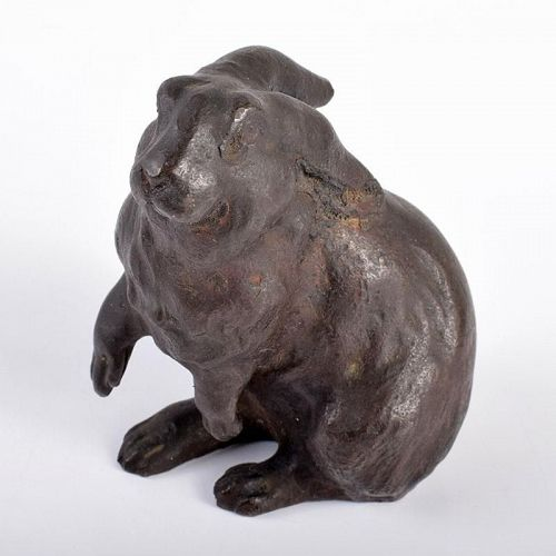 rabbit bronze metal figure statue Japanese metalwork