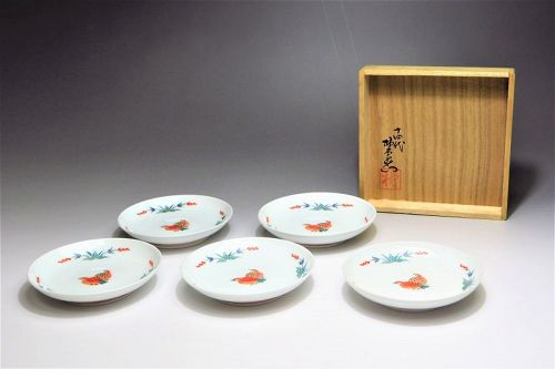 Kakiemon Sakaida ceramic porcelain saucer plate set dishes plates