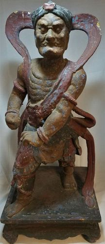 CHINESE CARVED WOODEN DEMONIC FIGURE, MING DYNASTY