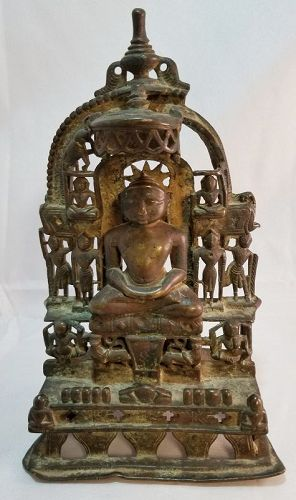 15th CENTURY INDIAN CAST BRONZE JAIN SHRINE