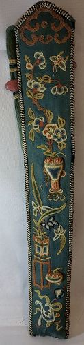 19th CENTURY CHINESE EMBROIDERED FAN CASE - PEKING KNOTTED